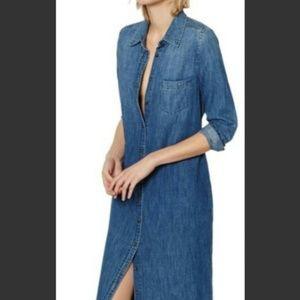 EDDIE BAUER VTG Long Maxi Denim Dress SMALL TALL